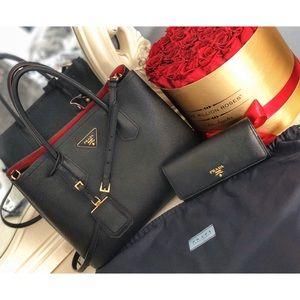 PRADA Bag &WALLET Cuir Tote Saffiano Black Leather